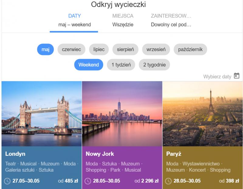 Google flight - odkryj wycieczki