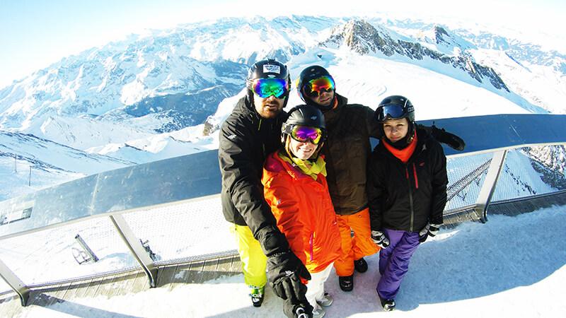 Grupowe selfie z lodowca Kitzsteinhorn