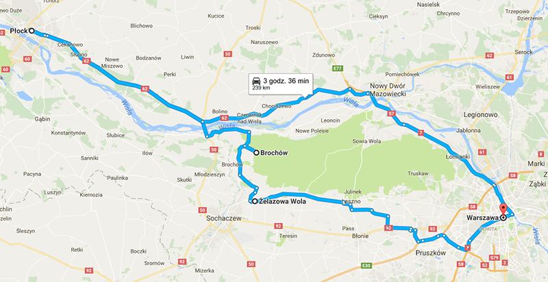 Mapa wycieczki w okolice Warszawy
