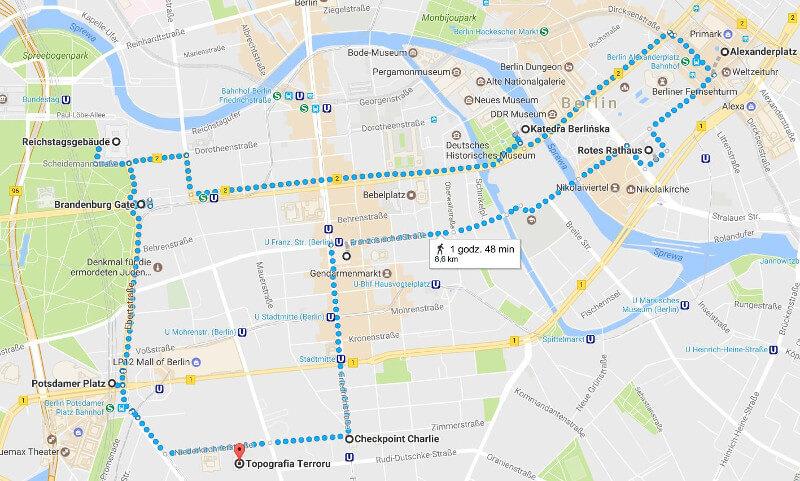 Mapa spaceru po Berlinie