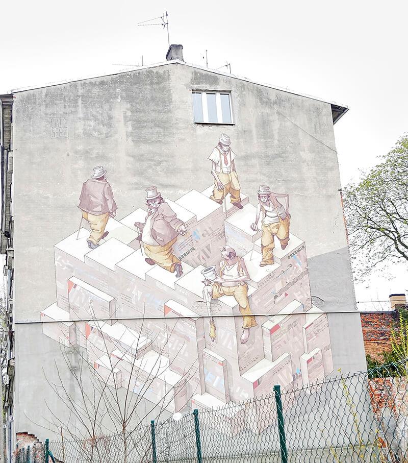 Szary mural - bydgoszcz