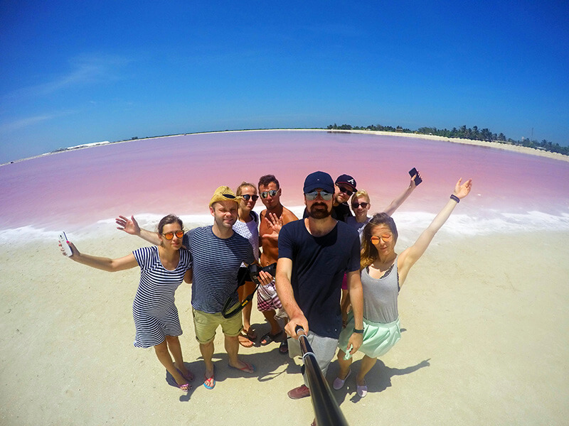 Las Coloradas- pink water in Mexico