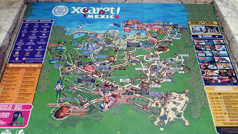 Mapa atrakcji w Xcaret