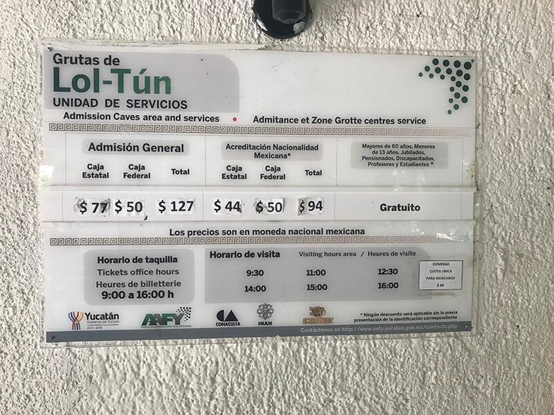 cennik wstępu do grot luton - Meksyk