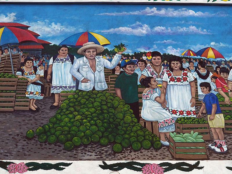 Meksykańskie miasto OXkutzcab - mural