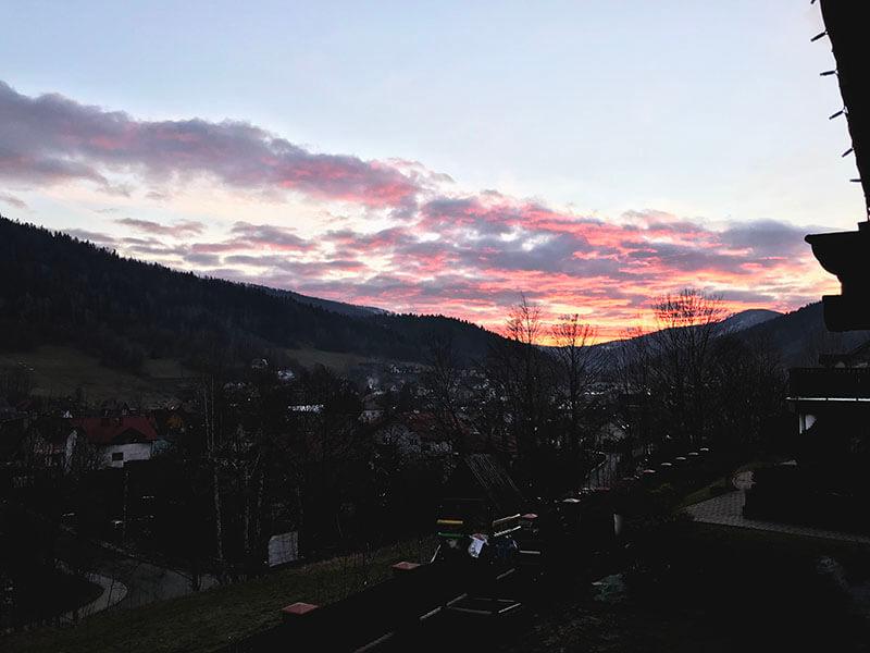 Szczyrk o zachodzie słońca