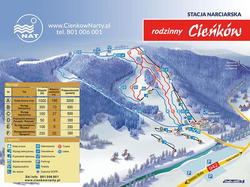 cieńków trasy narciarskie