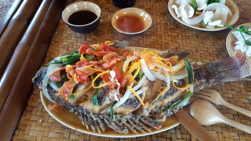 Smażona ryba - wietnamskie jedzenie Ha Long